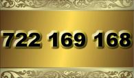 zlaté  číslo - 722 169 168  -  O2