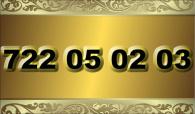 zlaté  číslo - 722 05 02 03