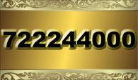 zlaté  číslo - 722 244 000  -  O2
